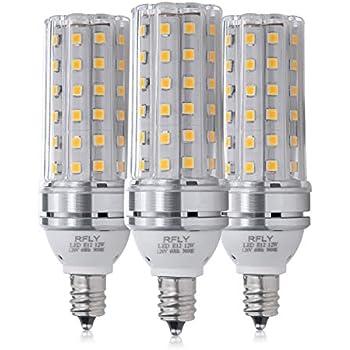 E12 LED Bulbs, 12W LED Candelabra Bulb 100 Watt Equivalent, 1200lm, Decorative Candle Base E12 Corn Non-Dimmable LED Chandelier Bulbs, Warm White 3000K LED ...