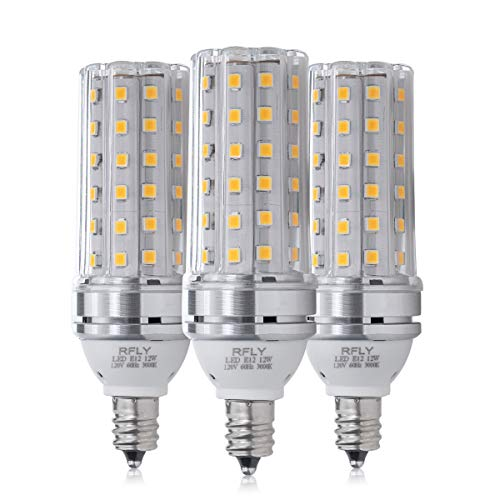 E12 LED Bulbs, 12W LED Candelabra Bulb 100 Watt Equivalent, 1200lm, Decorative Candle Base E12 Corn Non-Dimmable LED Chandelier Bulbs, Warm White 3000K LED Lamp, Pack of 3