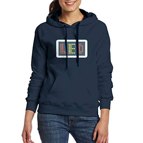 Price comparison product image Akrier Women's Casual Long Sleeve Front Pocket Retro Red LED Display Design Hooded Sweatshirt