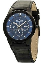 Skagen Men's 856XLBLN Steel Croco-Embossed Black Leather Strap, Blue Dial Watch