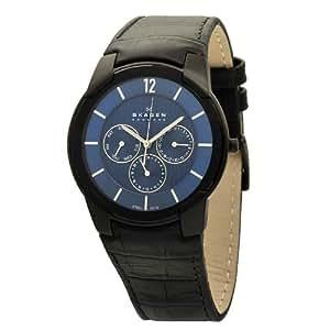 Skagen 856XLBLN - Reloj analógico de caballero de cuarzo con correa de piel negra