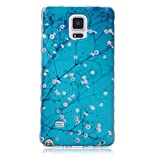 Samsung Galaxy Note 4 Case Soft TPU Silicone cases Protective Covers Cell Phone Cover Blue Tree