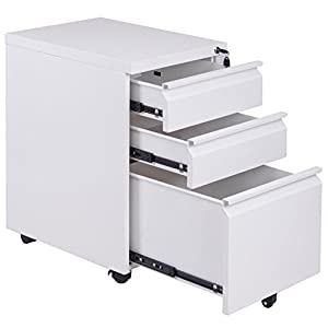 Home Office Rolling File Documets Storage Cabinet Organizer 3 Smooth Glide Suspension Spacious Storage Lockable Drawers Easy To Move Around With 5 Wheels Durable Sturdy Solid Steel Construction