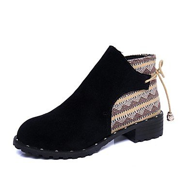 Heart&M Damen Schuhe PU Herbst Komfort Stiefeletten Stiefel Niedriger Absatz Spitze Zehe Booties / Stiefeletten Reißverschluss Für Normal Schwarz black