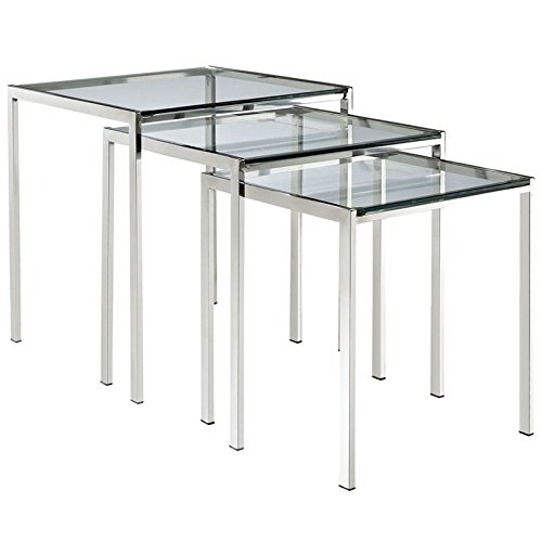 Hawthorne Collections 3 Piece Glass Top Nesting Table Set in Silver