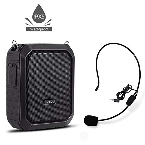 Voice Amplifier with Wired Microphone Headset, 18W Waterproof IPX5 Voice Loudspeaker, 4400mAh Rechargeable Portable PA system Power Bank for Outdoors, Water Aerobics Teaching, Meeting, Promotion, ect ()