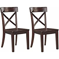 Ashley Furniture Signature Design - Gerlane Dining Room Chair - Solid Pine Wood Seating - Set of 2 - Dark Brown