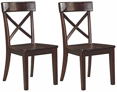 Ashley Furniture Signature Design - Gerlane Dining Room Chair - Solid Pine Wood Seating - Set of 2 - Dark Brown Set Solid Pine Chair