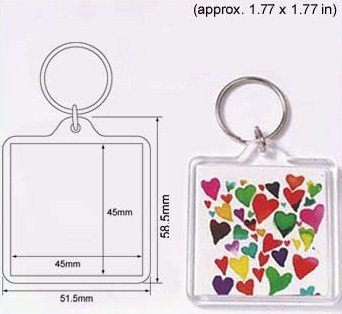 - 100 Pcs of Blank Clear Square Acrylic Keyring 45x45mm Photo Insert Craft Keychain 94312