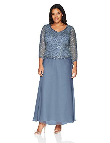 J Kara Womens Plus Size Scoop Neck 34 Sleeve Beaded Dress Dusty