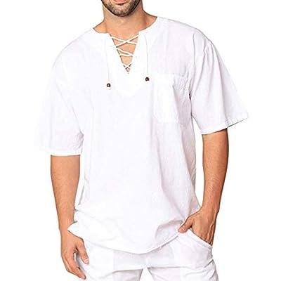 Men's Autumn Winter Vintage Casual Linen Lace Short Sleeve T-Shirt Top Blouse