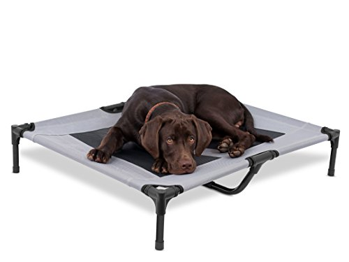 Internet's Best Dog Cot | 36 x 30 | Elevated Dog Bed | Cool Breathable Mesh | Indoor or Outdoor Use | Medium | Grey