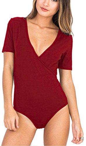 Rozegaga Womens Sexy Deep V Neck Snaps Crotch Bodysuit Romper Teddy Lingerie Medium Wine Red by Rozegaga