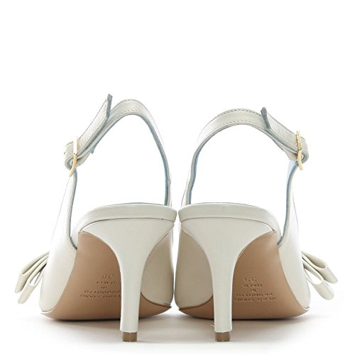 Leather Back Shoes Sling Leather Daniel Afill Court Bow White Beige qFxwExngSP