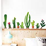 Amtoodopin Cactus Wall Sticker Green Plants Wall Decal Cactus Wall Decals Removable Wall Mural Wall Stickers for Baby Girl Bedroom DIY Background (Cactus)