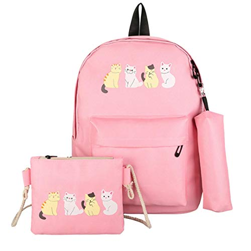 - Outsta 3Pcs Fashion Student Pattern Canvas School Backpacks+Crossbody Bag+Pen Bag,Cute Cat Backpack Shoulder Bag Wallet Purse Classic Casual Daypack Multicolor (Pink)