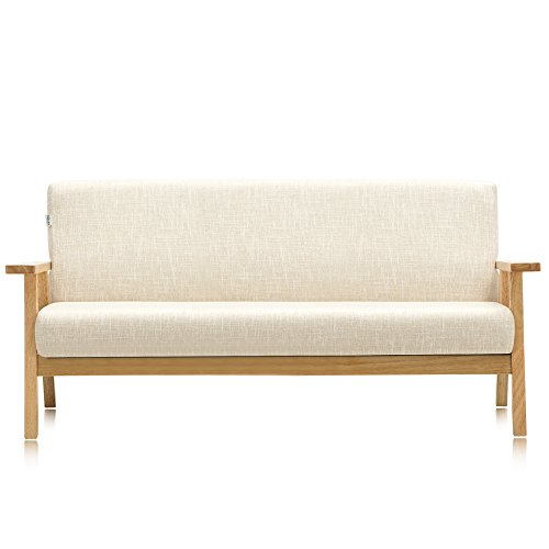 Wood Couch - Krei Hejmo Vintage Brown Wooden Low-Seat Armchairs Sofa Couch with Fabric (Three-Seater, Natural Finish Wood/Beige Fabric)