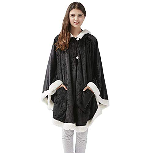 Gift Women Winter Warm Buttondown Plush Hooded Throw Wrap Wearable Blanket Cover Coat (Black)