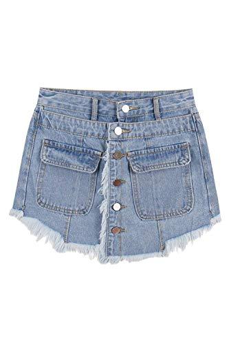 Un Cortos Mujeres Color Pantalones Cintura Blau Aire Alta Solo De Borlas Al Pecho Bolsillos Libre Mezclilla Casuales Mujer Con Culottes Sólido vgwqYPdq