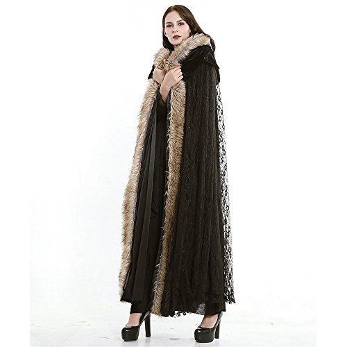 Steampunk Priestess Hooded Women Lace Cloak Gothic Court Long Woolen - Hooded Gothic Cape