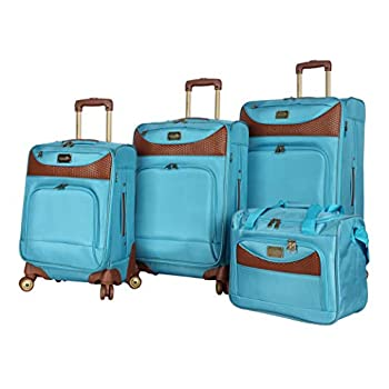 Image of Luggage Caribbean Joe Luggage Castaway 4-Piece Spinner Suitcase Set (Light Blue)