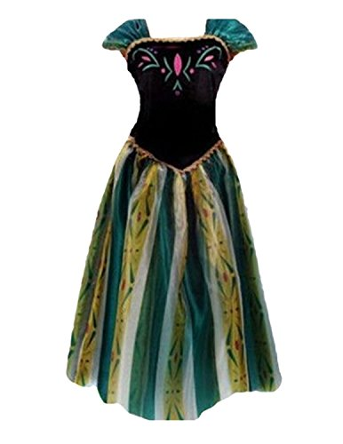 Quesera Women's Anna Costume Frozen Princess Coronation Dress Halloween Costume, White, Tagsize XL=USsize L ()