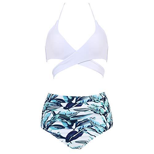 MOOSLOVER Women Sexy Halter Bikini Push-up Padded Floral 2Pcs Bathing Suits(XL,White)