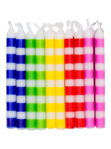 Creative Converting BB102836 Striped Birthday Candles, Multicolor. - 20-Pack (Pink Candles Striped Cake)