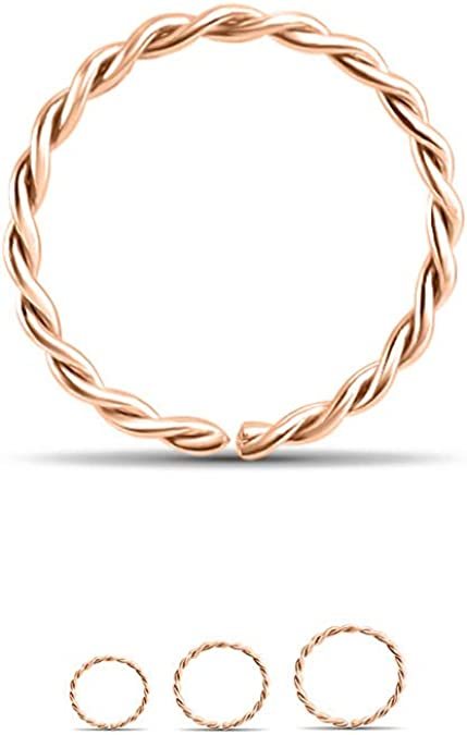 """14K Rose Gold Seamless Continuous Hoop Nose Ring 3//8/"""" 5//16 9//32 1//4/"""" 18G 20G 22G"""