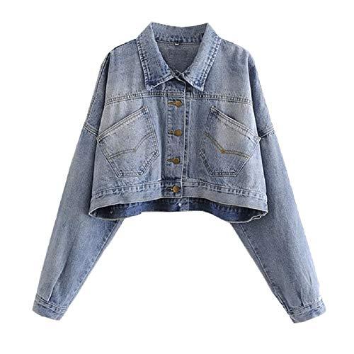 FuweiEncore Veste Femme Jeans Short Elegant Size Largo Blu Bleu