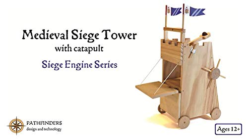 - Pathfinders Medieval Siege Tower with Catapult Wooden Kit