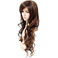 MelodySusie Brown Long Curly Wig Fascinating Women Long Curly Wig with Free Wig Cap (Light Brown)