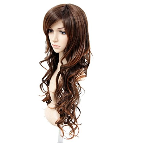 MelodySusie Light Brown Long Curly Wave Wig for