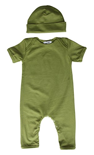Baby Romper with Matching Hat (12-18 Months (Large), Olive Green)