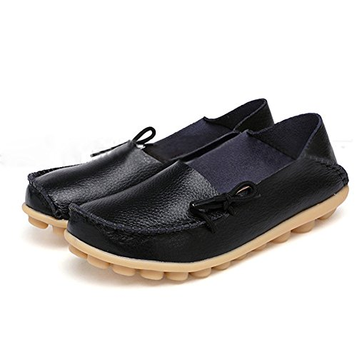 SHIBEVER Women's Leather Loafers Moccasins Wild Driving Casual Flats Oxfords Breathable Shoes Black 10.5