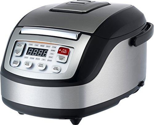 Hirbo EB-FC57 Asian Style 13 in 1 Multifunctional 5-Liter Rice Cooker with Advanced 3D Dynamic Heating, Reheat and Preset Function