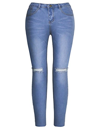 Pantaloni Blu Skinny Denim Da Jeans Blue9 Burvogue Donna Distressed SqRpY