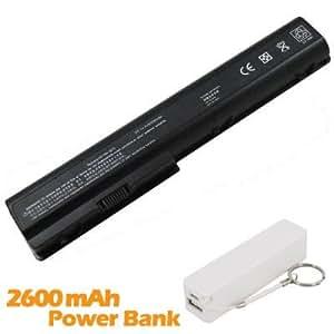 Battpit Bateria de repuesto para portátiles HP HDX 18-1050EF (4400mah) con 2600mAh Banco de energía / batería externa (blanco) para Smartphone