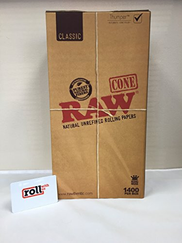 RAW Pre-Rolled Cone 1400 Pack (King Size) and Roll With Us Scoop Card by Roll With Us Depot