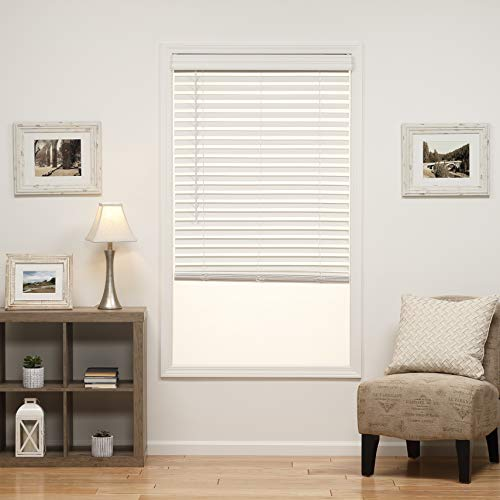 - DEZ Furnishings QJWT310640 2 in. Cordless Faux Wood Blind, 31W x 64L Inches, White
