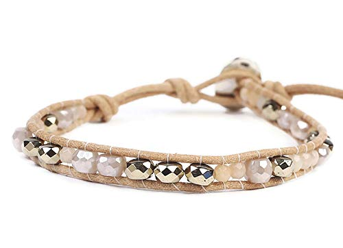 Chan Luu Beige Brown and Grey Iridescent Mix Mineral Stone Beaded Leather Single Wrap Bracelet