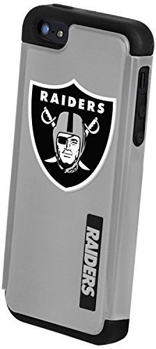 (Forever Collectibles NFL Dual Hybrid TPU Rugged Case Compatible with iPhone 5/5S - Retail Packaging - Black - Oakland Raiders)