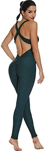 ED express Womens Honeycomb Butt Lifting Yoga Jumpsuit Backless Workout Romper Playsuit Sleeveless Textured Gy