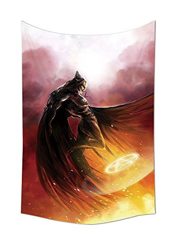 Awesome 80's Costume World (Fantasy World Decor Collection Superhero in His Original Costume Flying Up to Magic Flame Save the World Theme Bedroom Living Room Dorm Wall Tapestry Yellow Red)