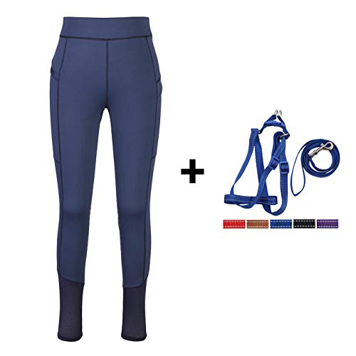 HR Farm Lady Light Weight Silicone Grip Leggings Horse Riding Tights 1 Dog Leash Set (Navy, ()