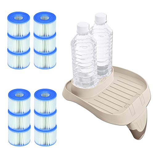 S1 Filter - Intex PureSpa Attachable Cup Holder and Refreshment Tray with 12 S1 Pool Filters