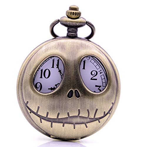 Vintage Nightmare Before Christmas Quartz Pocket Watch with Chain, Men Women Pocket Watch for Christmas Gift (Bronze)