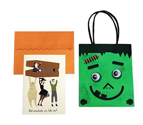 Happy Halloween Frankenstein Face Googly Eye Gift Goodie Bag & Festive Embellished 5