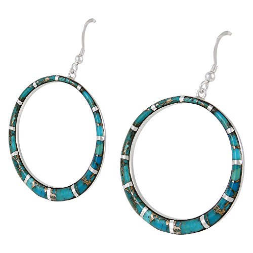 Silver Teal Hoop (Gemstone Earrings in 925 Sterling Silver & Genuine Gemstones (Teal/Matrix Turquoise))