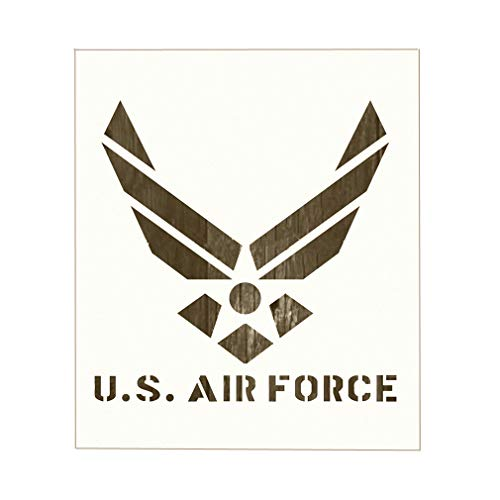 U.S Air Force Stencil for Painting on Wood, Fabric, Walls, Airbrush + More | Reusable 8.9 x 7.35 inch Mylar Template (USAF Military ()